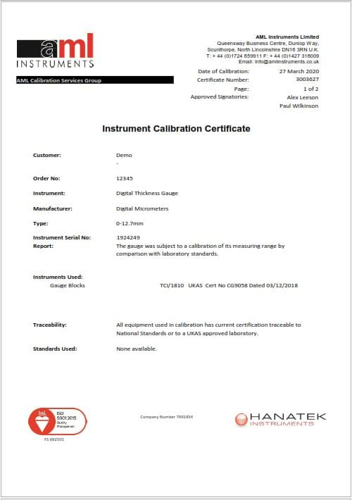 Digital Thickness Gauge Certificate Front Page