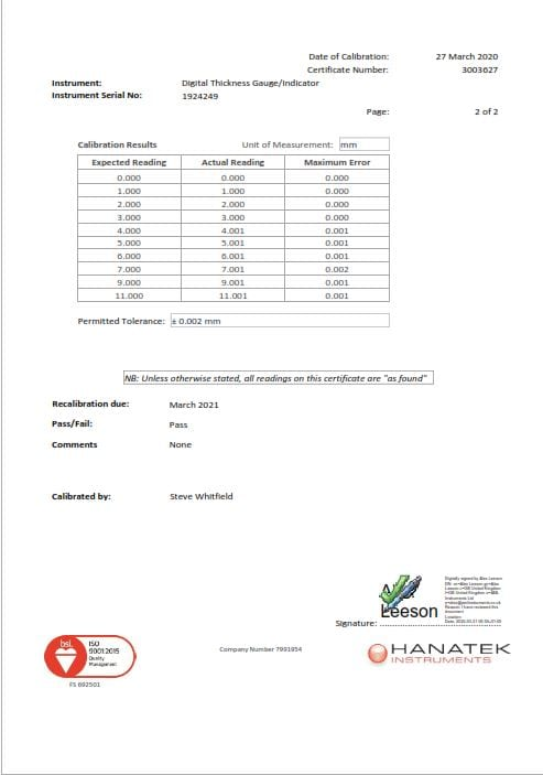 Digital Thickness Gauge Certificate Results Page
